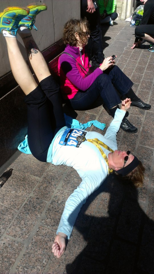 legs up the wall at Austin marathon